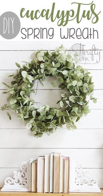 DIY Eucalyptus Wreath. How to make a spring wreath. DIY spring wreath tutorial. DIY farmhouse wreath