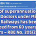 Age of superannuation of Dental Doctors under Ministry of Railways has been enhanced from 60 years to 65 years - (RBE No. 205/2017)