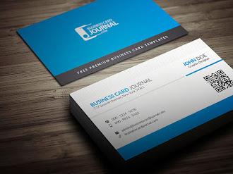 Arkası mavi renkli ve siyah şeritli, önü beyaz renkli ve mavi şeritli bir kartvizit