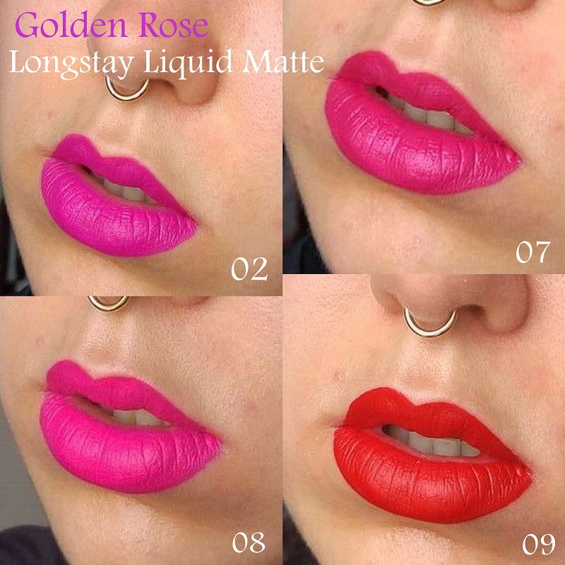 Cookie's Makeup, Golden Rose Longstay Liquid Matte Lipsticks in 02, 07, 08, 09, Velvet Matte Lipsticks, Matte Lipstick Crayon, liquid matte lipstick, Longstay Liquid Matte Swatches Swatch, golden rose