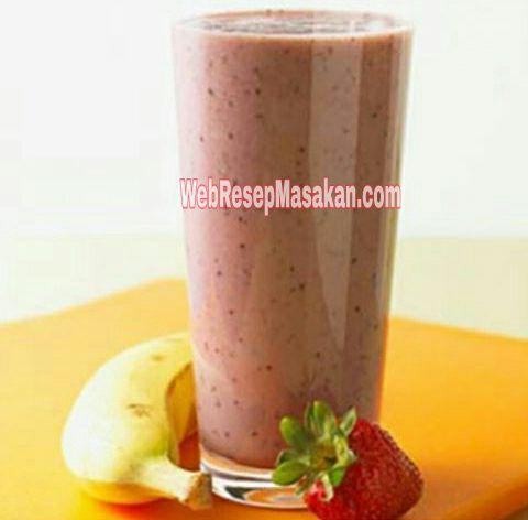 Jus Strawberry Pisang, resep Jus Strawberry Pisang, cara membuat jus strawberry pisang,