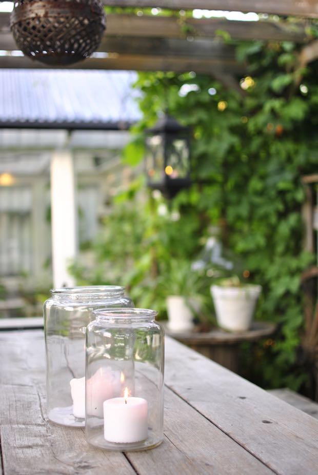 pergola ljus i glasburk hannashantverk.blogspot.se