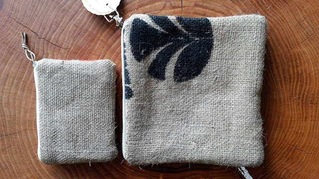 Upcycled Coffee Sack Burlap Zipper Pouches - handmade by Lina and Vi