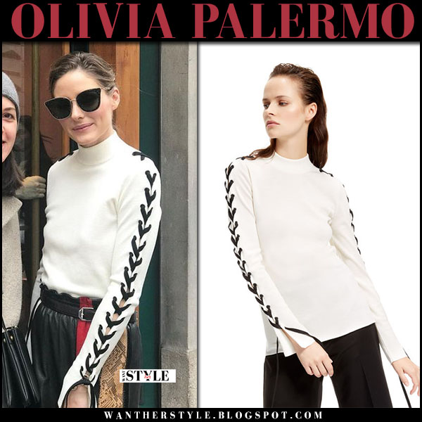 Olivia Palermo in white laced sleeve top and leather skirt street fashion february 2018