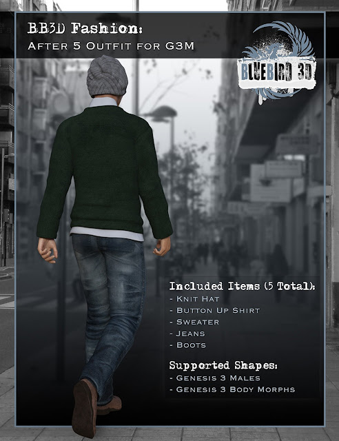 BB3D Fashions: After 5 for Genesis 3 Male