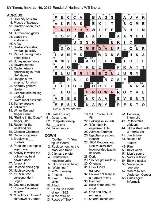 The New York Times Crossword in Gothic: 07.16.12 — Awards
