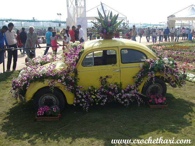 Ahmedabad flower show Beetle car