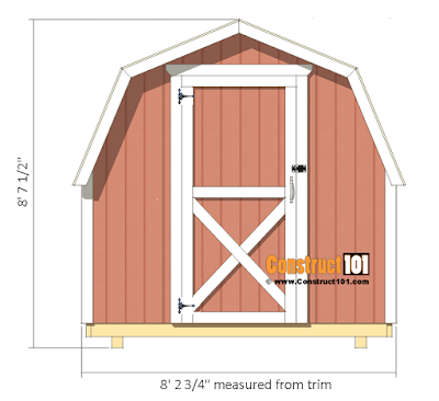 8x8 barn shed front view.
