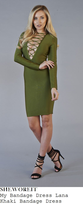 lacey-fuller-my-bandage-dress-lana-khaki-tie-lace-up-detail-bandage-dress