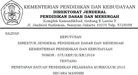 SK Dirjen Dikdasmen Nomor : 375/KEP/D/KR/2016 Tentang Penetapan Satuan Pendidikan Pelaksana Kurikulum 2013 Secara Mandiri