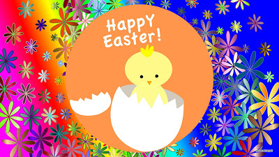Kuiken in een ei en de tekst: Happy Easter!