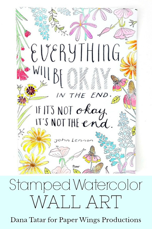 Stamped Watercolor Flowers and Mixed Font John Lennon Quote Poster
