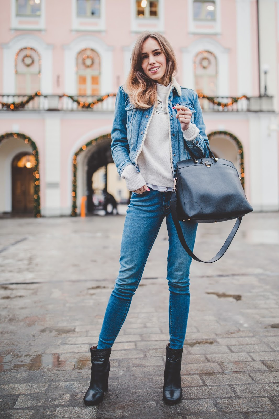 double denim jacket jeans winter street style