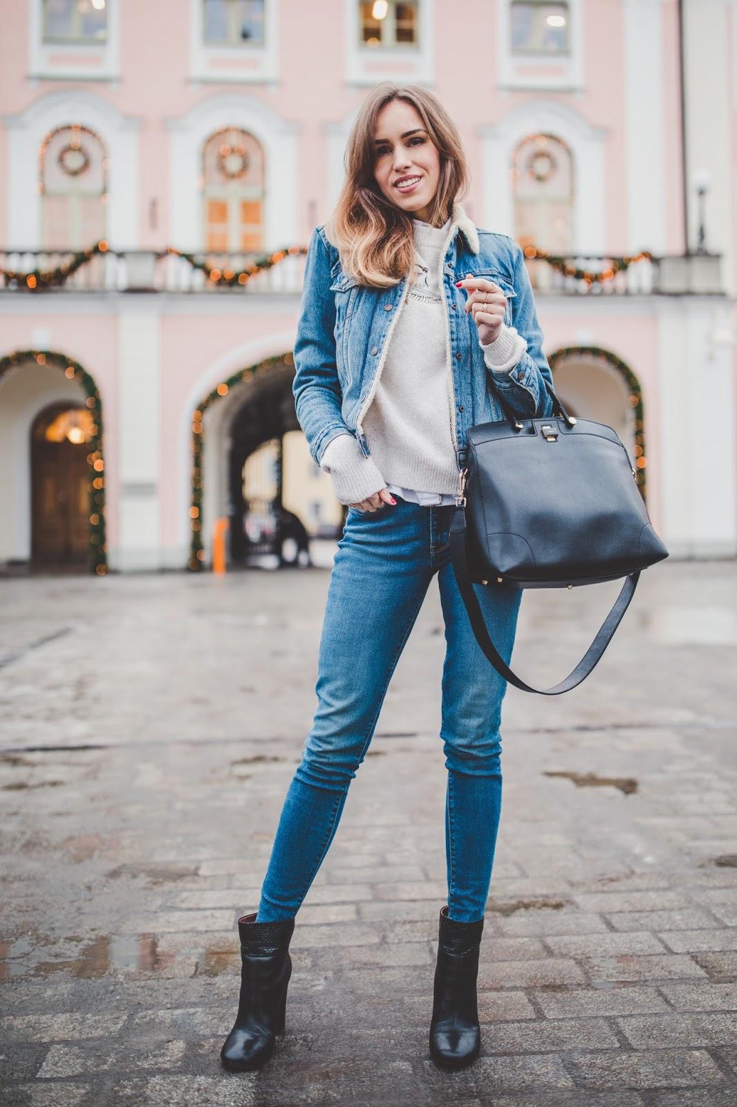 double denim jacket jeans winter street style