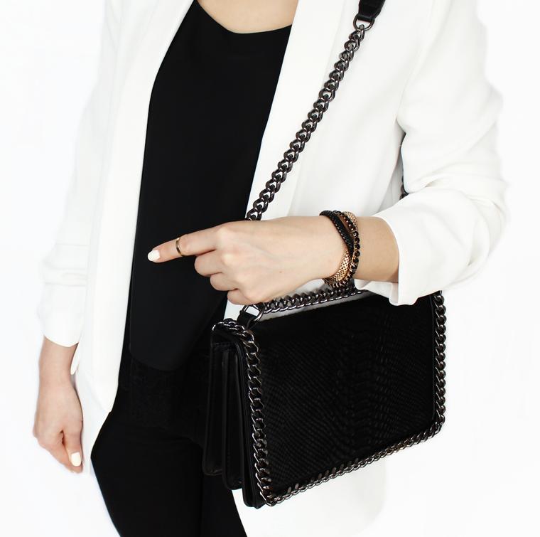 Nowości w mojej garderobie i nie tylko - czarna torebka z ozdobnymi tłoczeniami i łańcuchem Zara
