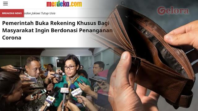Pemerintah Buka Rekening Donasi