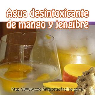 Agua desintoxicante de mango y jengibre✅variación de otras recetas desintoxicantes, de esta forma pruebas una variedad de sabores sin ganar un kilo, limpia tu sistema y te ayuda a perder peso.