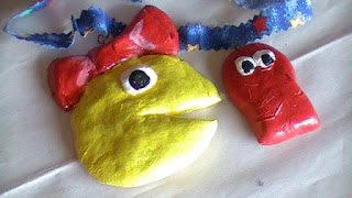 Mrs. Pac Man and Blinky With Dough Clay