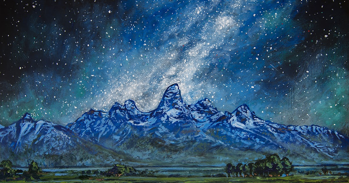14er art painting teton milky way