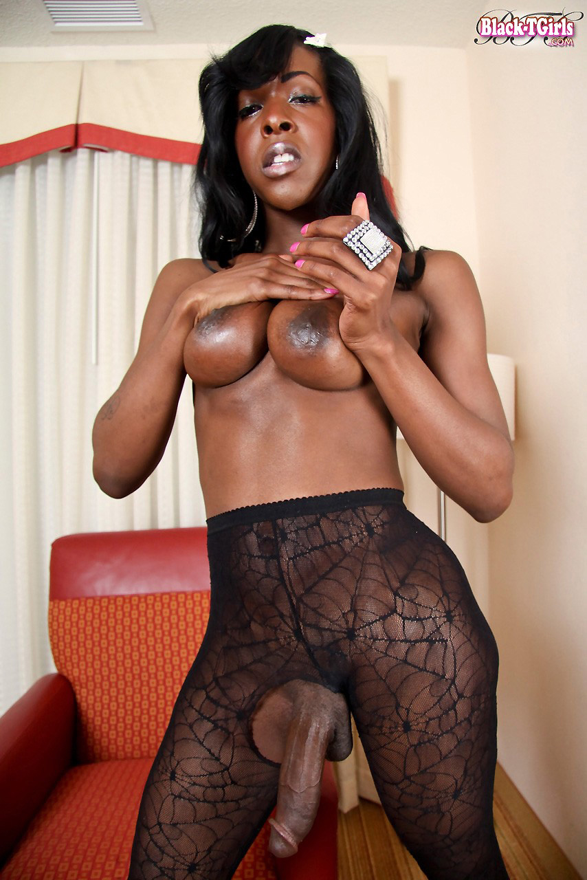Busty Black Tgirl Jerks After Showing Booty