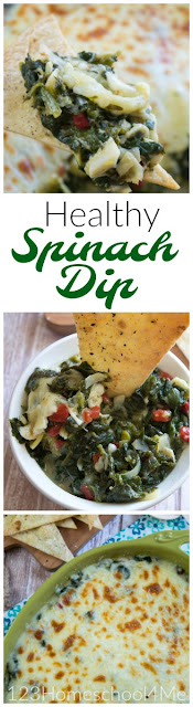 Your family is going to LOVE this Spinach Artichoke Dip. This easy summer appetizer is easy to whip up and a healthy spinach recipe everyone won't be able to get enough of. Family favorite recipes.