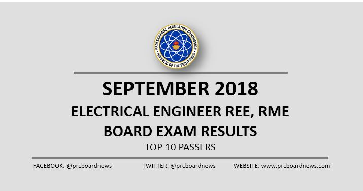 EE RESULT: September 2018 Electrical Engineer REE, RME board exam top 10