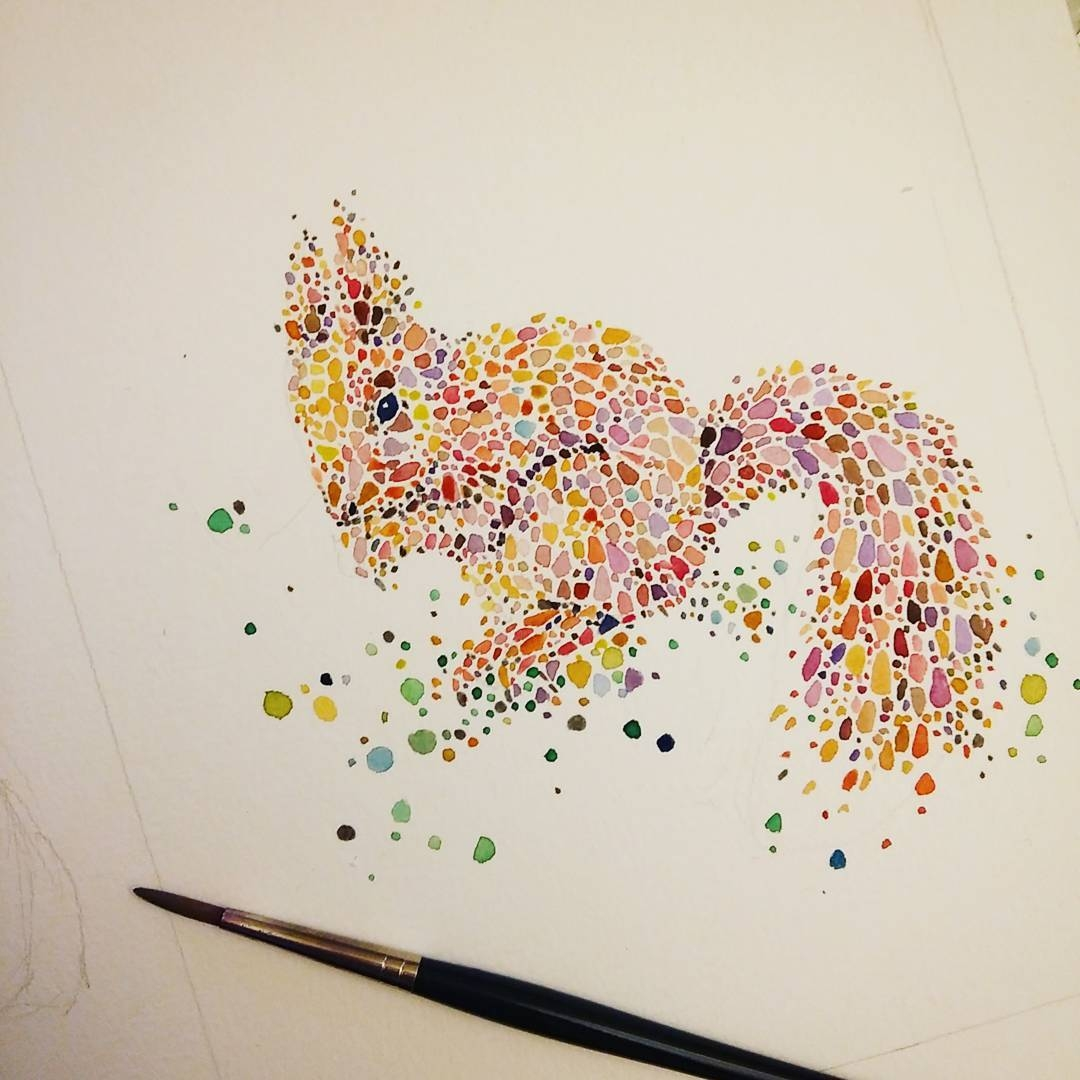 23-Squirrel-Ana-Enshina-anaensh-Dot-and-Circle-Animal-Paintings-Ishihara-Test-www-designstack-co