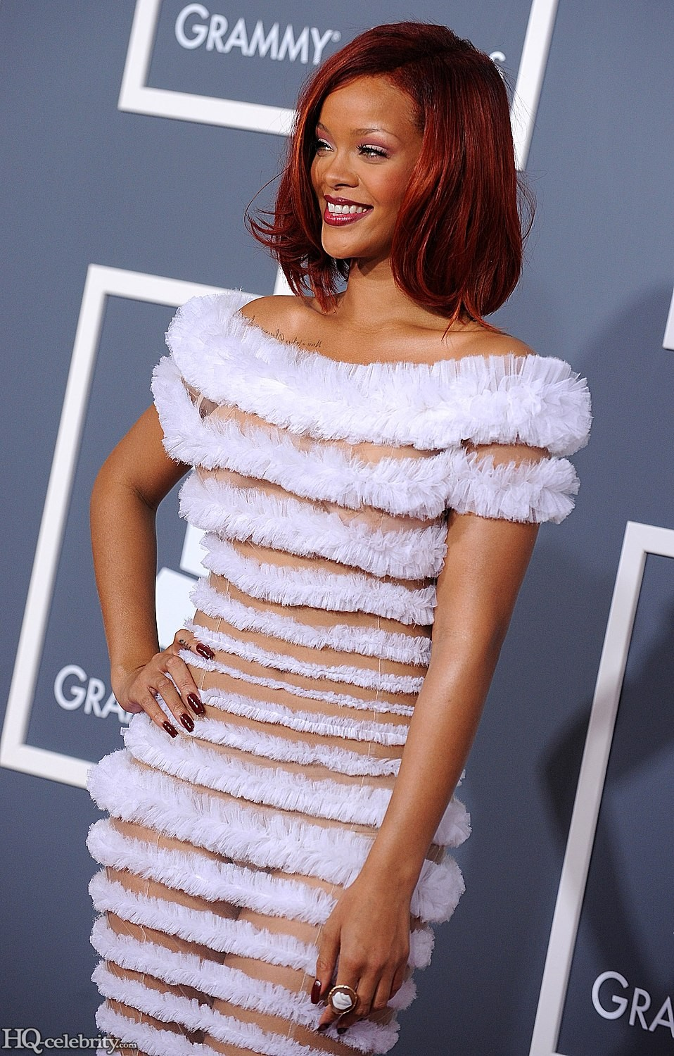 Ontel Hordok: Rihanna In Too Beautiful Combination White and Skin Dress 10 Photos,