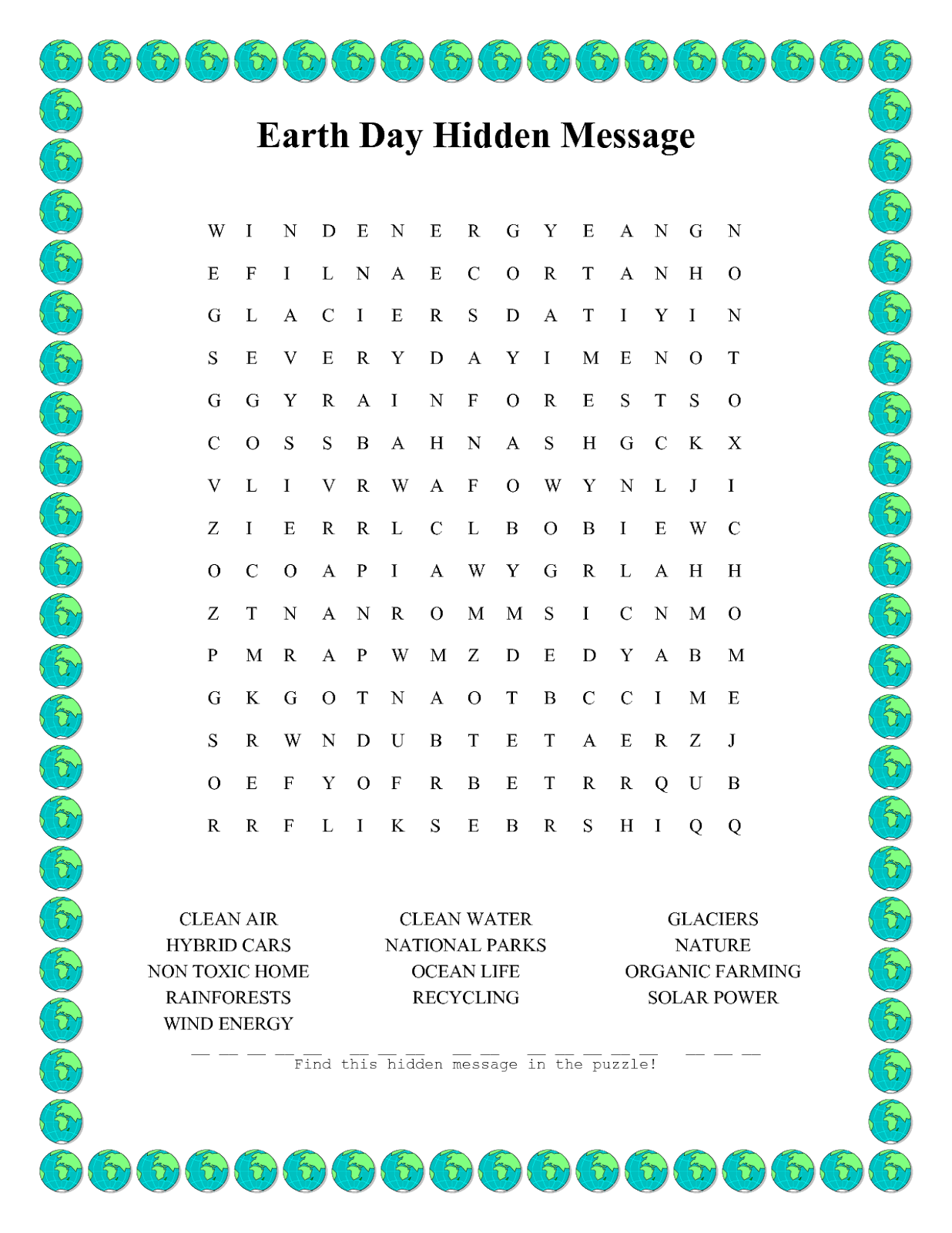 Easy Earth Day Wordsearch For Kids