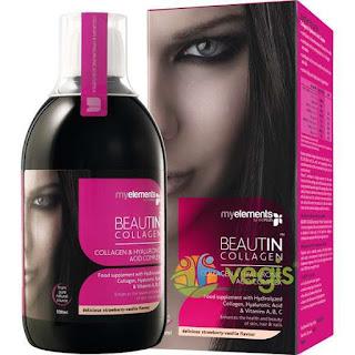 Asa arata lichidul de baut pentru infrumusetare Beautin Collagen lichid recomandat pentru folosire impreuna cu Serul antiage