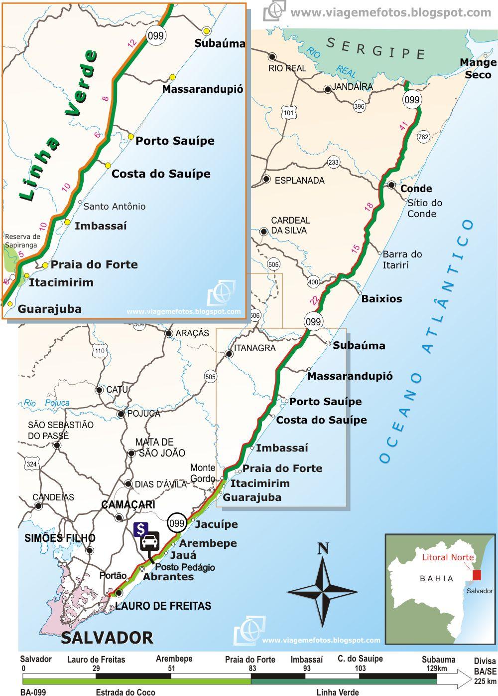 praia verde mapa Viagem e Fotos: Mapa Roteiro Linha Verde – Estrada do Coco praia verde mapa