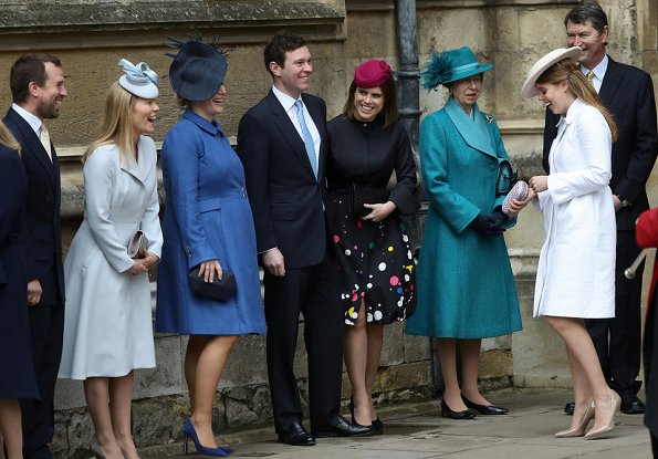 Queen Elizabeth, Kate Middleton, Countess Sophie, Lady Louise, Princess Anne, Princess Eugenie, Jack Brooksbank, Princess Beatrice