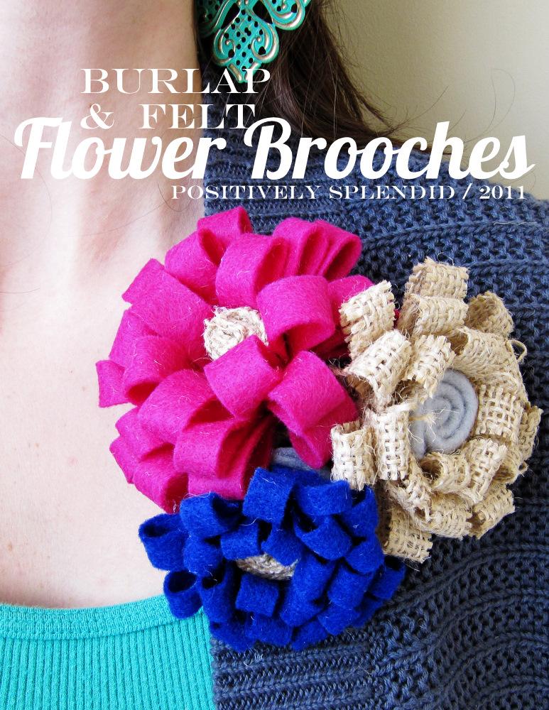 Burlap U0026 Felt Flower Brooch Tutorial