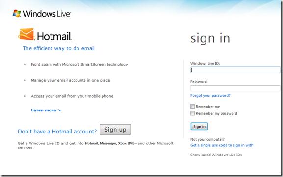 Hotmail sing in