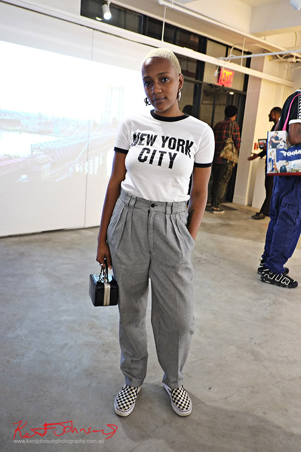 Classic New York City Tee shirt with pleated check pants. Street Fashion Sydney, New York Edition photographed by Kent Johnson.