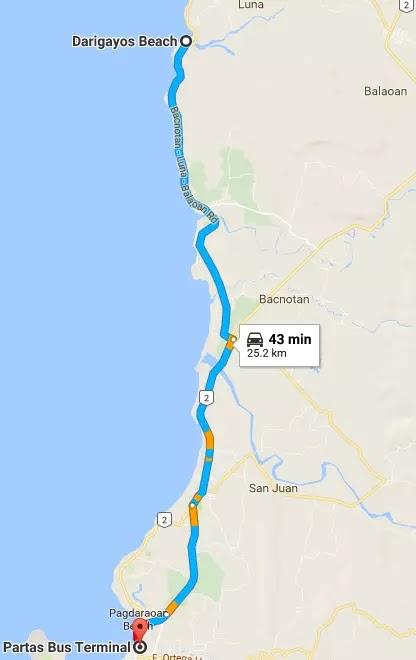 Google Maps Partas Bus Station to Darigayos Beach Luna La Union Region I Philippines