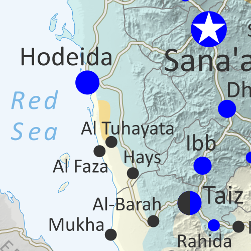 Map of what is happening in Yemen as of September 12, 2018, including territorial control for the unrecognized Houthi government and former president Saleh's forces, president-in-exile Hadi and his allies in the Saudi-led coalition and Southern Movement, Al Qaeda in the Arabian Peninsula (AQAP), and the so-called Islamic State (ISIS/ISIL). Includes recent locations of fighting, including Hodeida, Al Tuhayata, Hayran, Malahith, Malajeem, and more. Colorblind accessible.