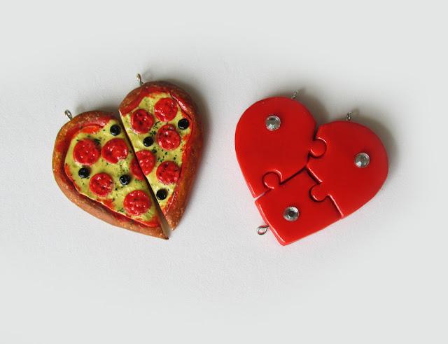 DIY: Como Fazer COLAR DA AMIZADE - Pizza e Coração Quebra Cabeça Biscuit