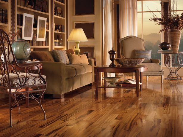 The grain patterns of this hardwood floor add a special feel to the room.