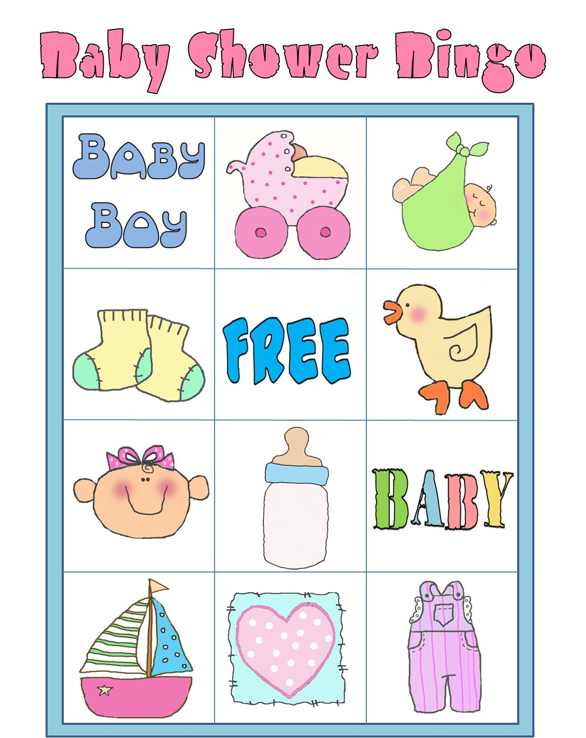 Parties And Patterns Printable Games Baby Shower Bingo