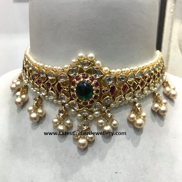 Polki Kundan Choker with Pearls
