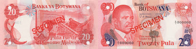 Botswana: Billete de 20 Pulas del año 1992. Specimen