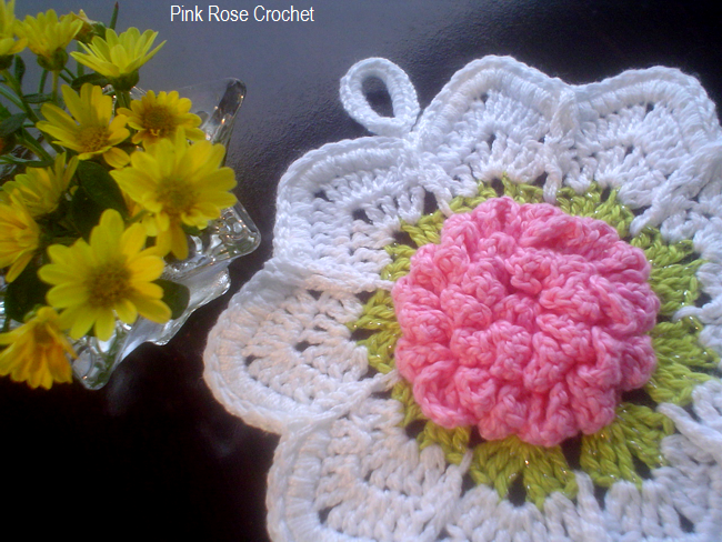 Pink Rose Crochet: Rose Ripple Pot Holder Pega Panelas Flor