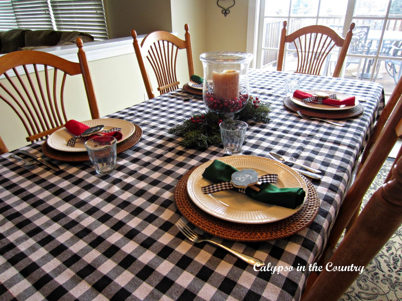 Christmas morning table setting for four