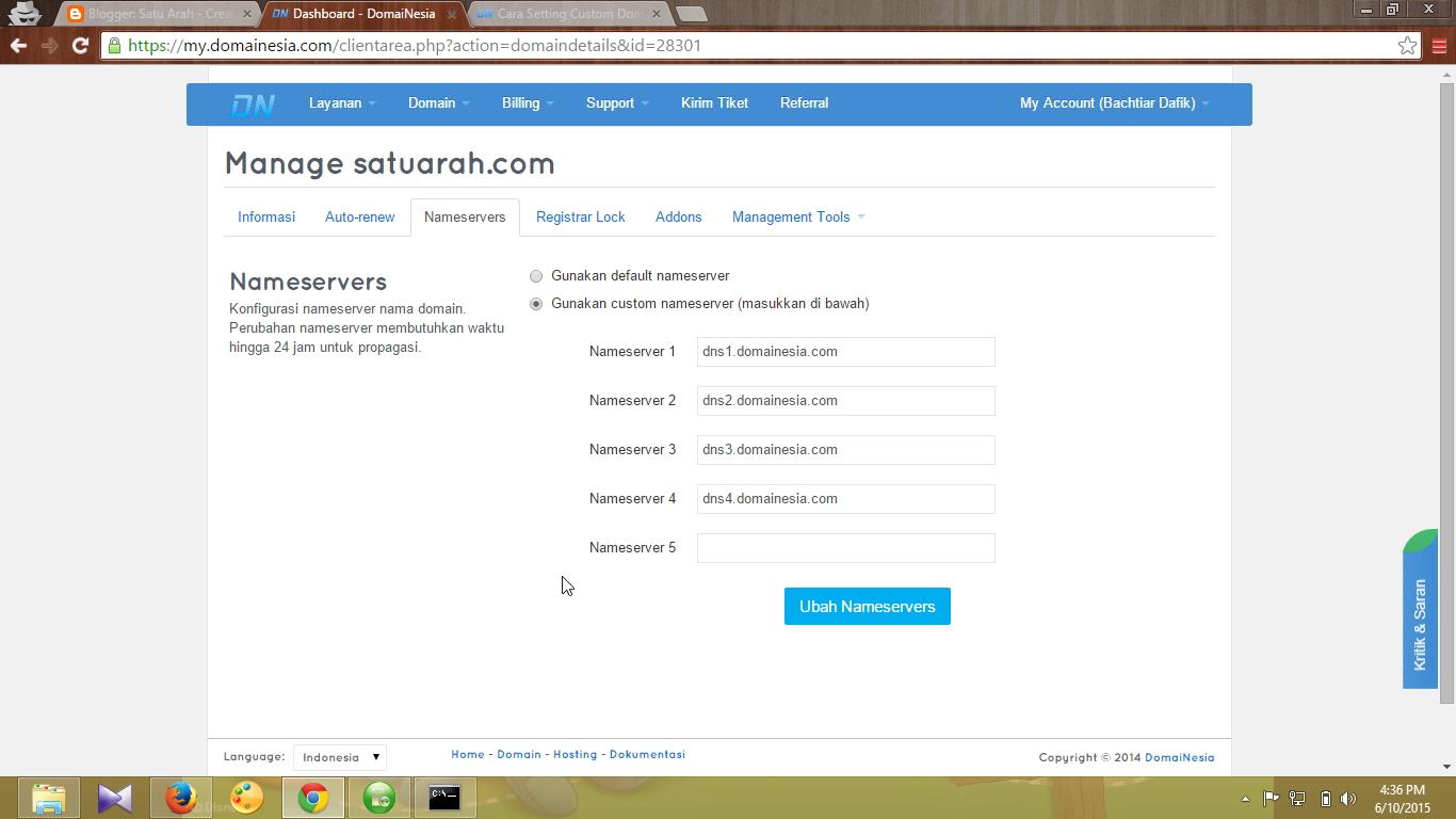Cara Setting Custom Domain Blogger Blogspot Di Domainesia Com