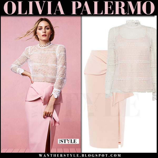 Olivia Palermo in white lace top and pink bow pencil skirt coast what she wore spring 2017 campaign