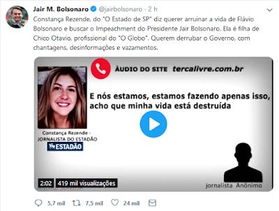 Tuíte de Bolsonaro contra jornalista Constança Rezende
