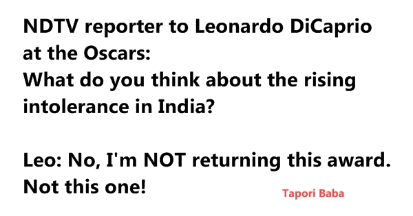 Leonardo DiCaprio jokes on oscar award