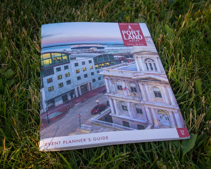 Corey Templeton photo of the Old Port on cover of 2016 Greater Portland Convention & Visitors Bureau Event Planner's Guide. June 2016.