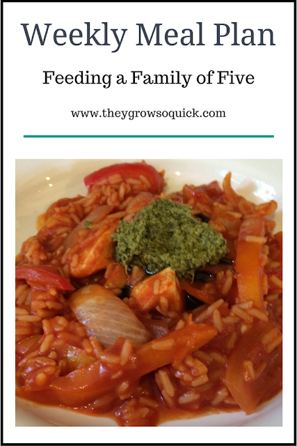 Weekly meal plan,  family of five